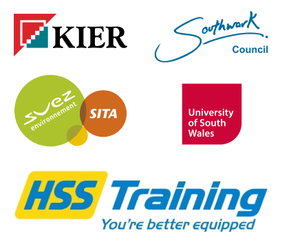 Companies we work with: Kier, Southwark Council, SVEZ SITA, University of South Wales, HSS Training